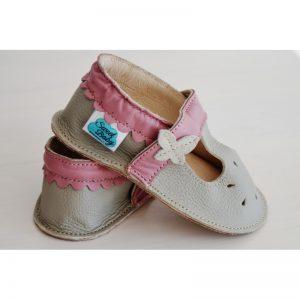 dla dziewczynki sandałki a'la paputki skórzane kapcie dla dzieci przewiewne miękkie lekkie