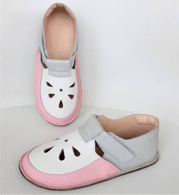 minimalistyczne lekkie sandały barefoot dziecięce na rzepy idelane kapcie do przedszkola na rzepy - wzór Bosa Stopka dla dzieci i miękkie podeszwy